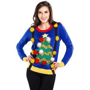 TIPSY ELVES Ugly Christmas Tree Suspender Sweater